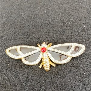 Vintage Black, gold & red Butterfly pin